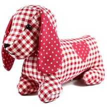 Delton Checkered Plaid Red Heart Dachshund Puppy Dog Love Door Stopper Doorstop image 5