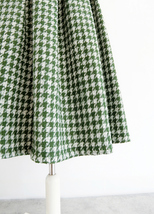Women Green Houndstooth Midi Skirt A-line Winter Wool Midi Party Skirt Plus Size image 6