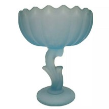 Vintage Frosted Ice Blue Flower Stem Pedestal Candy Dish Saw Tooth Edge - $24.18