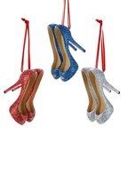 Kurt S. Adler Glittered High Heels Christmas Ornaments Set Of 3 Multicolor - $19.33