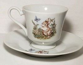 BUNNY & BUTTERFLY TEA CUP AND SAUCER PORCELAIN CHINA ASCOT JAPAN SET VTG... - $7.59