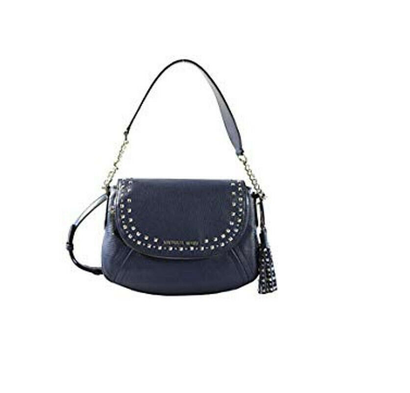 99c29daf3cca S l1600. S l1600. Previous. Michael Kors Aria Medium saddle bag Convertible  Stud Tassel Blue Shoulder bag