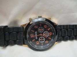 Geneva Black & Rose Gold Toned Wristwatch w/ Adjustable Buckle Band - $29.00