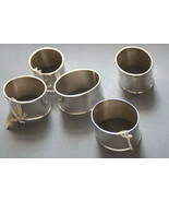 Crate & Barrel silverplate napkin rings 5  NWT  oval metal - $12.86