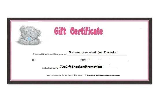 $10  Gift Certificate for Promotional Services