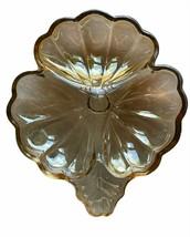 Vintage Jeannette Doric Marigold Iridescent Carnival Glass 3 Leaf Clover... - $32.66
