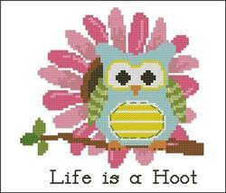 Flower Hootie Pink Blossom owl cross stitch chart Pinoy Stitch - $4.50