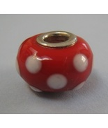 Red and White Polka Dot Murano Glass Bead European Bracelet by Biagi - $10.00