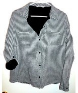 RIDERS BY LEE Shirt Plus XXL Button Front Striped Roll Tab Sleeves Grey ... - $15.14