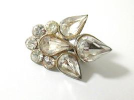 Signed CREATIVE Rhinestone Brooch / Pin  Unique Fleur de Lis Shape - $12.00