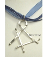 Argentium Sterling Silver Abstract Pendant Blue Ribbon Cord Necklace - $16.99
