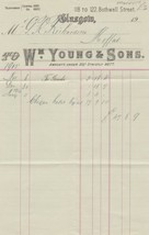 Wm. Young & Sons Bothwell St Glasgow 1915 For Goods Invoice Ref 41160 - $7.55