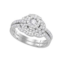 14k White Gold Diamond Round Bridal Wedding Engagement Ring Band Set 5/8 Ctw - £1,019.16 GBP