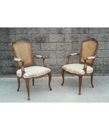 Vintage Kindel Furniture French Cane and Upholstered Arm Chairs-A Pair - $1,675.00