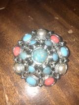 Premier Designs Silver Tone Flower & Rhinestone Brooch Pin Pendant Charm... - $12.86