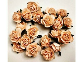 Mulberry Paper Pale Peach Roses, 25mm, 20 Count