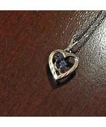 14k Gold Filled heart sapphire blue gem necklace - $14.28