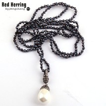 fashion 4mm mini black color glass knotted handmake paved pearl drop pendant necklaces thumb200
