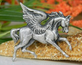 Vintage Pegasus Winged Horse Pewter Brooch Pin Mythology  - $17.95