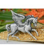 Vintage Pegasus Winged Horse Pewter Brooch Pin ... - $17.95