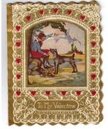 Small Victorian Valentine Card - Accordion Heart - $7.95