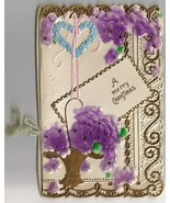 Stunning! Antique Victorian Lacy Christmas Greeting Card Purple Flowers - $16.00