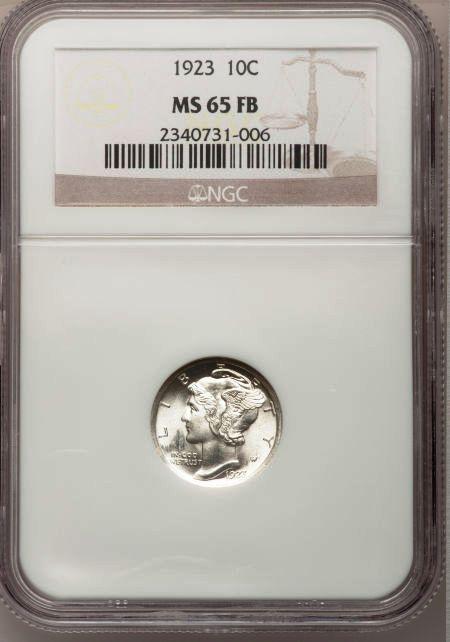 1923 Mercury Dime MS65 Full Bands NGC
