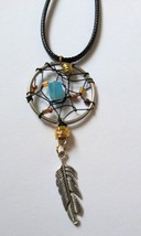 Black wire blue brown gold bead feather charm dangle necklace - $15.00