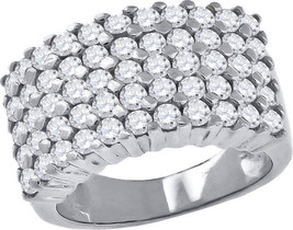 Sterling Silver Womens Round Cubic Zirconia CZ Wedding Anniversary Band ... - $95.00