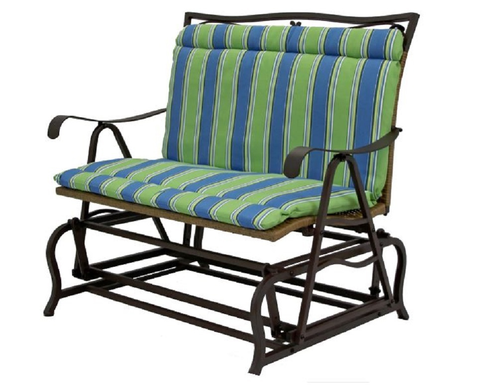 Outdoor double glider chair cushion blue green striped