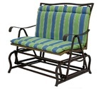 Outdoor double glider chair cushion blue green striped thumb155 crop