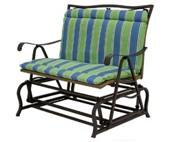 Outdoor double glider chair cushion blue green striped thumb200