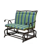 Outdoor double glider chair cushion blue green striped thumbtall