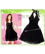 Black Chiffon Ruched Halter Dress - $5.00