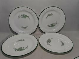 "Set of 4 Corelle CALLAWAY GREEN IVY, 7 1/4"" Bread Dessert Plates White S... - $12.60"