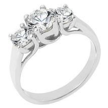 1.51 CARAT WOMENS 3-STONE PAST PRESENT FUTURE DIAMOND RING ROUND CUT WHI... - £2,669.40 GBP