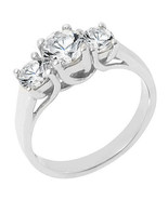 1.51 CARAT WOMENS 3-STONE PAST PRESENT FUTURE DIAMOND RING ROUND CUT WHI... - £2,818.40 GBP