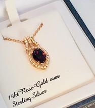 Swarovski Crystal Sterling Silver 14k Rose Gold Necklace New Item - $54.45