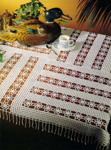 "Advanced SHOOTING STARS Patchwork Crochet Tablecloth Pattern 37-3/4"" Square - $5.50"