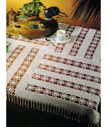"""Advanced SHOOTING STARS Patchwork Crochet Tablecloth Pattern 37-3/4"""" Square - $5.50"""