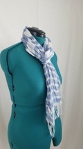 Scarf Christopher Banks Sheer Blue White Tassel Edge  - $11.65