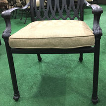 Patio dining chairs set of 6 cast aluminum furniture Tuscany sunbrella cushions image 5