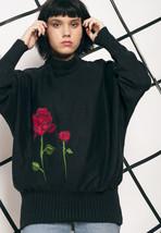 Rose knit jumper - 80s vintage sweater - $39.88