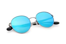New Ray Ban RB3537-004/55 Sunglasses Gun Metal Mirror Blue Lenses - $84.11