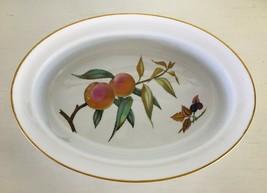 """Evesham Gold Oval Dish w/ Rim Porcelain Royal Worcester Fruit Gold Trim 11-1/2"""" - $21.38"""