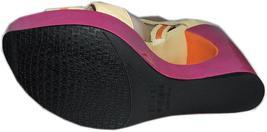 Stuart Weitzman Cut Out Pink Wedge Sandals Color Block Slingback Shoes 10 image 7