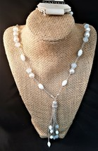 Napier Long Tassel Beaded Necklace Faux Pearl White and Pale Blue  - $13.00
