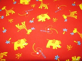 Yellow Elephants Giraffes Red Deco Cotton Fabric 1 3/4 yd - $9.95