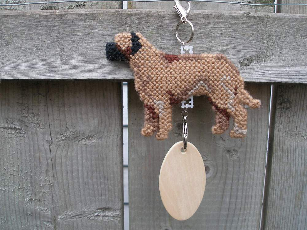 Mastiff crate tag or hang anywhere, English, handmade needlepoint by dog artist