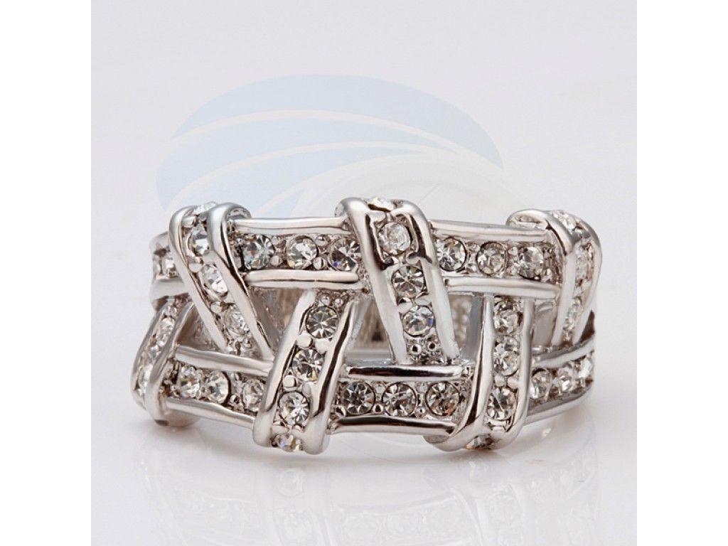 Size8 Ashbury Metal 18K White Gold Plated Rhinestone Crystal Lady Ring